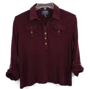Chaps Burgandy Long Sleeve Knit Pull Over Top
